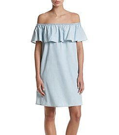 Hippie Laundry Chambray Popover Off Shoulder Dress