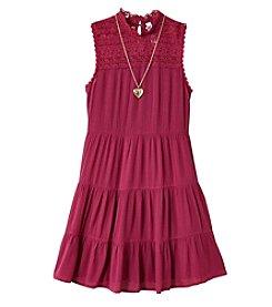 Beautees Girls' 7-16 Sleeveless Victorian Neck Tiered Dress