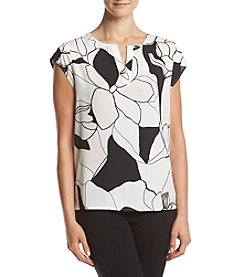 Ivanka Trump® Abstract Floral Woven Top