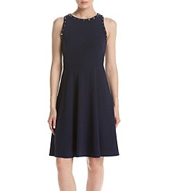 Ivanka Trump® Studded Scuba Crepe Dress