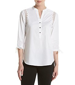 Ivanka Trump® Lace Insert Button Up Top