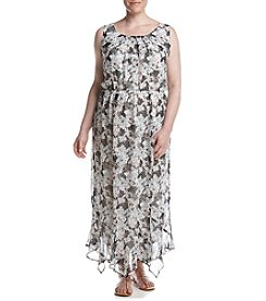 AGB® Plus Size Long Blouson Print Dress