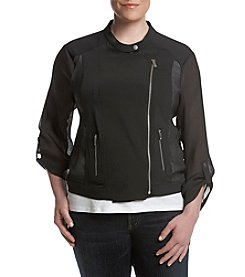 Jones New York® Plus Size Mesh Sleeve Bomber Jacket