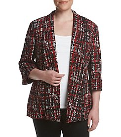Kasper® Plus Size Plaid Long Jacket