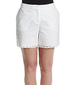 Rafaella® Petites' Eyelet Scalloped Shorts