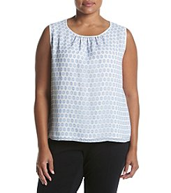 Nine West® Plus Size Dot Printed Woven Top