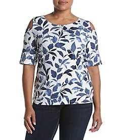 Nine West® Plus Size Printed Cold Shoulder Top