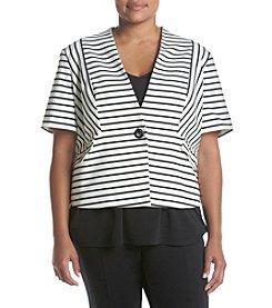 Nine West® Plus Size Stripe Ponte Jacket