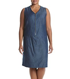 Nine West® Plus Size Zip Neck Dress