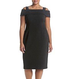 Adrianna Papell® Plus Size Black Crepe Off Shoulder Dress