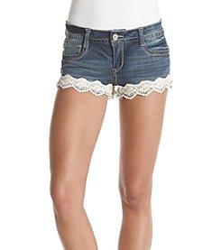 Crave Fame Lace Hem Jean Shorts
