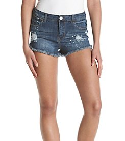 Crave Fame Frey Hem Paint Splatter Shorts