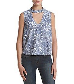 Sequin Hearts® Printed Choker Neckline Top