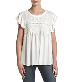 Sequin Hearts® Crochet Front Flutter Sleeve Top