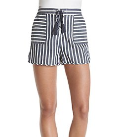 Sequin Hearts® Navy/Ivory Striped Lace-Up Shorts