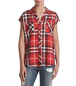 Sequin Hearts® Sleeveless Plaid Top