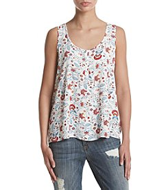 Pink Rose® Henley Front Ivory Ground Floral Tank