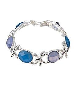 Napier® Faceted Stone Leaf Link Bracelet
