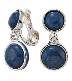Napier® Clip On Epoxy Cabochon Drop Earrings