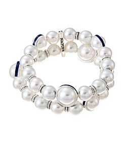 Napier® Two Row Simulated Pearl Stretch Bracelet