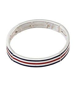 Napier® Red, White And Blue Enamel Stripe Bracelet