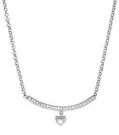 Sterling Silver 0.10 ct. t.w. Diamond Heart Bar Necklace
