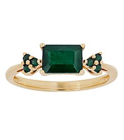 10K Yellow Gold Rectangular Emerald Ring