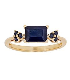 10K Yellow Gold Rectangular Sapphire Ring