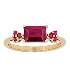 10K Yellow Gold Rectangular Ruby Ring