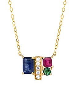 10K Yellow Gold Multi Stone Necklace