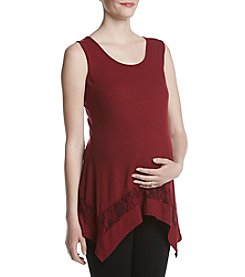 Three Seasons Maternity™ Self Stripe Knit Tank With Lace Insert Hem