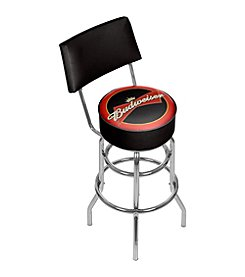 Budweiser® Bowtie Red/Black Padded Bar Stool with Back