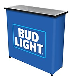 Bud Light® Metal 2 Shelf Portable Bar Table w/ Carrying Case