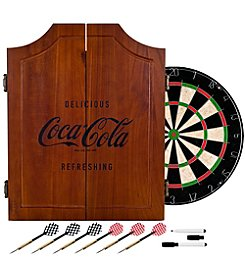 Coca-Cola® Engraved Wood Dart Cabinet Set