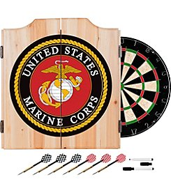 Trademark Gameroom United States Marine Corps Wood Dart Cabinet Set