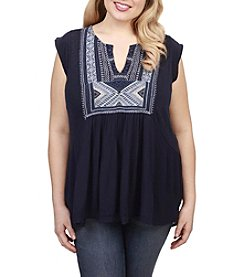 Lucky Brand® Plus Size Embroidered Bib Tank