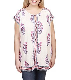 Lucky Brand® Plus Size Wood Block Floral Top
