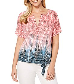 Rafaella® Petites' Tie-Front Printed Blouse