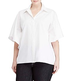 Lauren Ralph Lauren® Plus Size Collared Short Sleeve Top