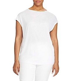 Lauren Ralph Lauren® Plus Size Mesh-Sleeve Stretch Cotton Tee