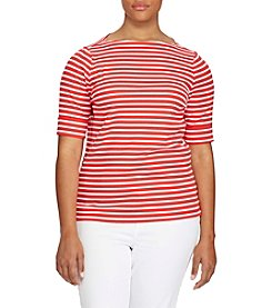 Lauren Ralph Lauren® Plus Size Striped Stretch Cotton Tee