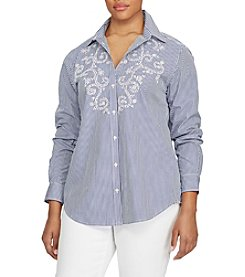 Lauren Ralph Lauren® Plus Size Striped Eyelet Cotton Shirt