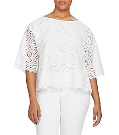 Lauren Ralph Lauren® Plus Size Eyelet Cotton Top