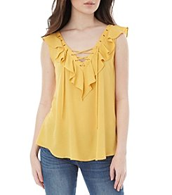 A. Byer Ruffle Trim Lace Up Top