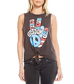 Chaser® Freedom Fingers Tie Front Tee