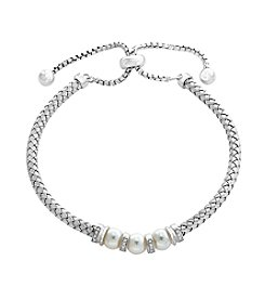 Effy® 0.10 ct. t.w. Diamond And Cultured Fresh Water Pearl Adjustable Bracelet
