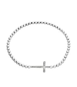 Effy® 925 Collection Sterling Silver 0.07 ct. t.w. Diamond Accent Cross Stretch Bracelet