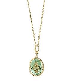 Effy® 14K Yellow Gold Diamond And Green Amethyst Pendant Necklace