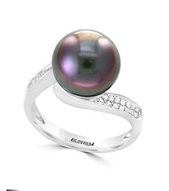 Effy® Sterling Silver Cultured Tahitian Pearl and 0.20 ct. t.w. Diamond Ring