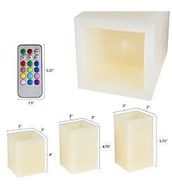 Lavish Home 3pc. Square Color Changing Flameless Candle with Remote